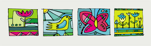Abstract summer icons. Colorful set of summer icons Vector Illustration