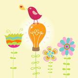 Abstract summer illustration. Bird on a light bulb Stock Photos