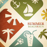 Abstract summer illustration. Retro beach and sun Stock Images