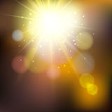 Abstract summer illustration with sun beams and defocused lights Stock Photos