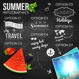 Abstract summer infographics poster with watermelon, strawberry, Royalty Free Stock Photos