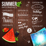 Abstract summer infographics poster with watermelon, strawberry, Stock Photo