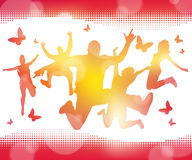 Abstract Summer Jumping Youths. Illustration of a Collection of Jumping Youths against a Summery Blur background Stock Photography