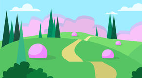 Abstract Summer Landscape Road Blue Cloud Sky With Sun Green Grass Forest. Flat Design Vector Illustration Royalty Free Stock Photos