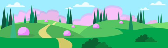 Abstract Summer Landscape Road Blue Cloud Sky With Sun Green Grass Forest. Flat Design Vector Illustration Royalty Free Stock Photography