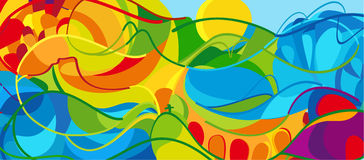 Rio Olympics Game. RIO Summer abstract landscape. Olympics and Paralympic Games wallpaper. Summer Olympic and Paralympic Games sport in Brazil Colorful Royalty Free Stock Image