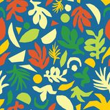 Abstract summer leaves seamless vector background. Green orange yellow blue floral elements paper collage illustration stock images