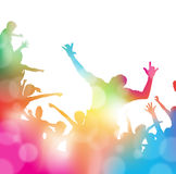 Abstract Summer Music festival Crowd Cheering. Colorful abstract illustration of a Young People dancing and Leaping through a haze of musical notes and summer Stock Photography