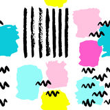 Abstract summer pattern-01. Pattern of trendy geometric elements. Retro style backgroound. Black brush strokes and bright blots. Fresh summer design. Memphis Stock Photography
