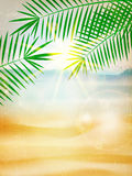 Abstract summer poster with beach. Stock Photography