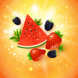 Abstract summer poster with watermelon, strawberry, blackberry a Royalty Free Stock Photo