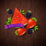 Abstract summer poster with watermelon, strawberry, blackberry a Stock Photography