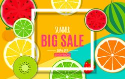Abstract Summer Sale Background with Fresh Fruits. Vector Illustration. EPS10 stock illustration