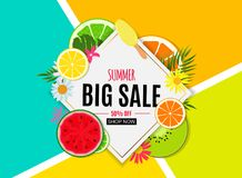 Abstract Summer Sale Background with Fresh Fruits. Vector Illustration. EPS10 vector illustration