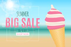 Abstract Summer Sale Background with Ice Cream. Vector Illustration. EPS10 vector illustration