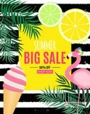 Abstract Summer Sale Background with Palm Leaves, flamingo and Ice Cream. Vector Illustration. EPS10 vector illustration