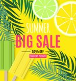 Abstract Summer Sale Background with Palm Leaves and Ice Cream. Vector Illustration. EPS10 vector illustration