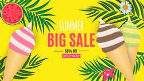 Abstract Summer Sale Background with Palm Leaves and Ice Cream. Vector Illustration. EPS10 stock illustration