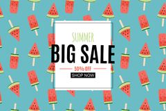 Abstract Summer Sale Background with Watermelon Ice Cream. Vector Illustration. EPS10 stock illustration