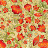 Abstract summer seamless floral ornament. Abstract red seamless floral ornament on beige background Stock Image