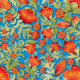 Abstract summer seamless floral ornament. Abstract red seamless floral ornament on blue background Stock Photography