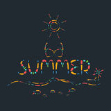 Abstract summer time colorful creative vector. Abstract summer time colorful creative poster style vector Stock Photo