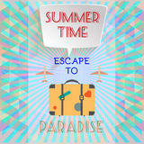 Abstract summer time infographic, with book now and escape to paradise text, planes and travel accessories Stock Photo