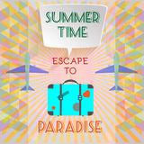 Abstract summer time infographic, with book now and escape to paradise text, Royalty Free Stock Images