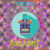 Abstract summer time infographic, escape to paradise text, a big baggage Royalty Free Stock Photography