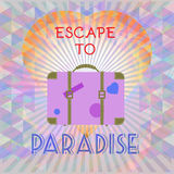 Abstract summer time infographic, escape to paradise text, a big heart and suitcase Royalty Free Stock Photography