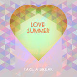 Abstract summer time infographic, love and take a break text, a big heart. Digital vector image Stock Images