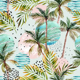 Abstract Summer Tropical Palm Tree Background. Royalty Free Stock Images