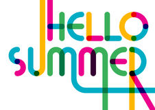 Abstract summer typographic background. Colorful greeting card. Stock Photos