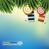 Abstract of summer vacation background with leaves nature and set of umbrella on sunny day. Illustration vector eps10 Stock Photo