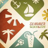 Abstract summer vector illustration. Retro beach Stock Images
