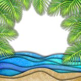 Abstract summer watercolor sea wave, sand beach, palm leaves background. Hand drawn blue paper waves and seacoast for banner, invitation, poster. Paper cut royalty free illustration