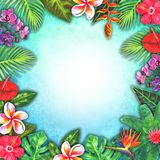Abstract summer watercolor tropical paradise. Hand drawn colorful paper tropical plants royalty free illustration