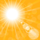 Abstract Sun Background. Yellow Summer Pattern. Bright Background with Sunshine. SunBurst with Flare and Lens stock illustration
