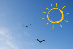 Abstract sun and birds Royalty Free Stock Image