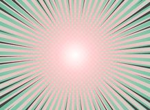 Abstract sun burst background vintage of halftone pattern design. Green and living coral colors with highlight of comic stripe. stock illustration