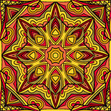 Abstract Sun Ethnic Repeatable Ornament. Seamless tribal geometric pattern. Abstract symmetric background. Stained glass style. Stylized Indian square motif Stock Photography