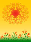 Abstract sun and flowers Stock Photos