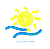 Abstract sun illustration. With waves as logo for company Royalty Free Stock Photo