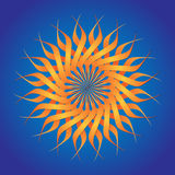 Abstract sun. Orange abstract twisted sun on blue Stock Image