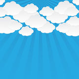 Abstract sun rays with clouds background. Clouds on a background of the sun rays Royalty Free Stock Photo