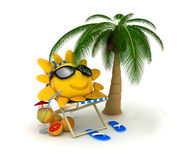 Abstract sun relax. Beach bed and sun (done in 3d stock illustration