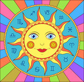 Abstract sun with  zodiac signs Stock Images