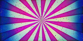 Abstract sunburst and rays comic cartoon pink white green with little glitter shapes and blue dirty borders