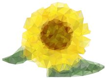 Abstract sunflower drawing with triangles Royalty Free Stock Photos