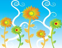 Abstract sunflowers  Illustration summer Royalty Free Stock Photos